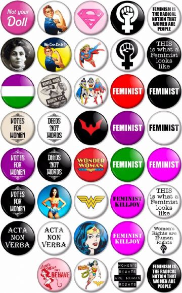 "Feminist 25mm 1"" Pin Button Badges 39 Different Designs Feminism Women's Rights"